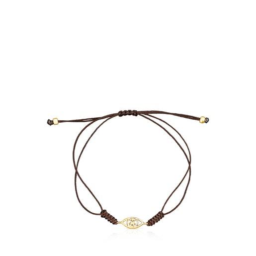 Bracelet TOUS Good Vibes œil en Or et Cordon marron
