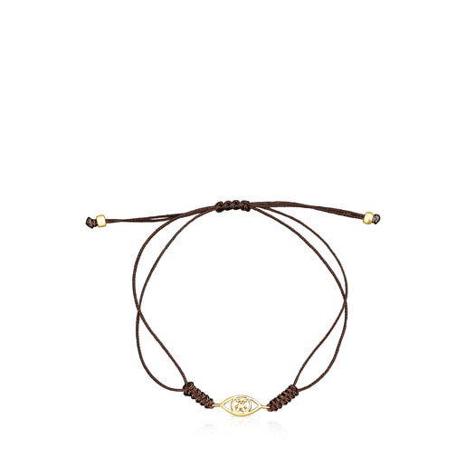 Gold TOUS Good Vibes eye Bracelet with brown Cord