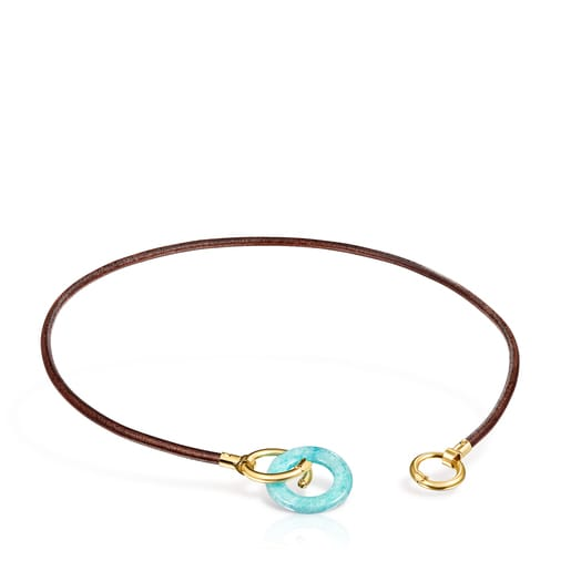 Collar Hold Gems de Plata Vermeil y Cuero con Amazonita