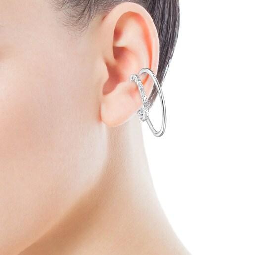 Σκουλαρίκια-χειροπέδες Straight double από ασήμι