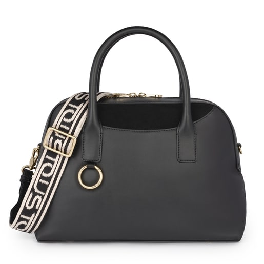 Black Leather Zafiro Bowling bag