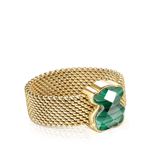 Gold-colored IP Steel Mesh Color Ring with Malachite