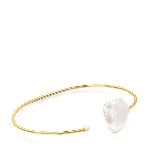 Silver Vermeil Nenufar petal Bracelet with Pearls
