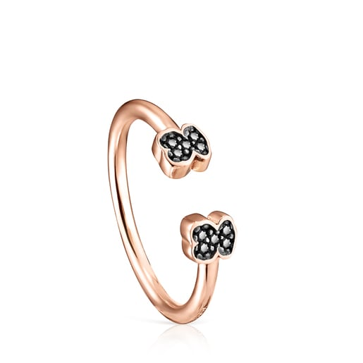 Motif open Ring in Rose Silver Vermeil with Spinels