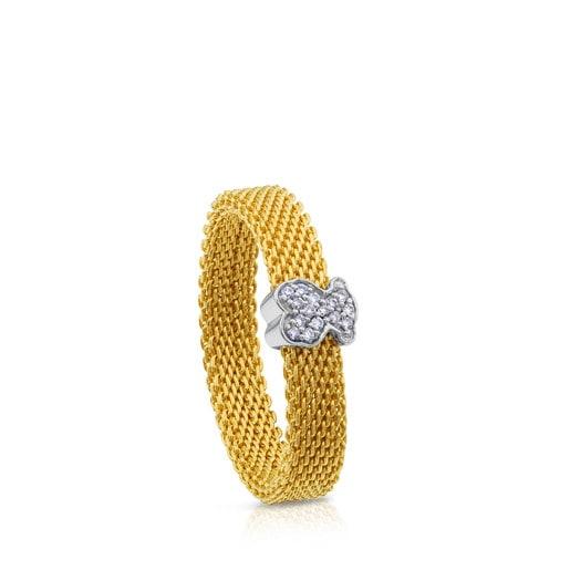 Bague Icon Mesh en or avec diamants