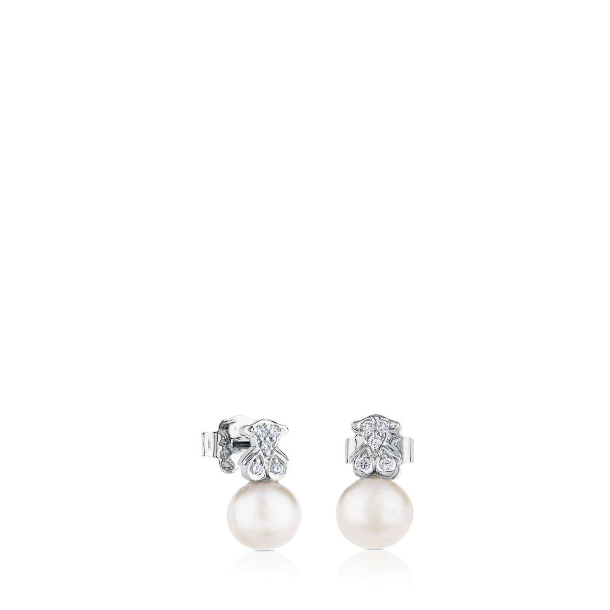 White Gold Puppies Earrings