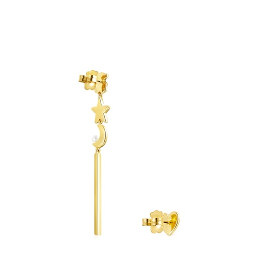 Long Nocturne Earrings in Silver Vermeil with Diamonds and Pearl