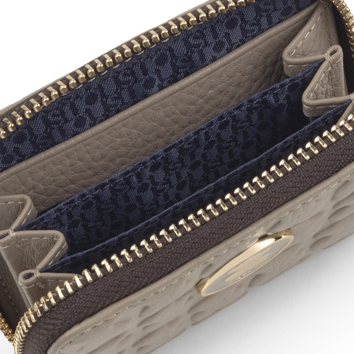Mittelgroßes Portemonnaie Sherton aus braungrauem Leder