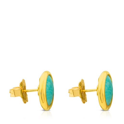 Σκουλαρίκια Alecia από Ασήμι Vermeil με Αμαζονίτη