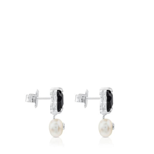 Silver Erma Earrings with Onyx, Pearl and Spinel