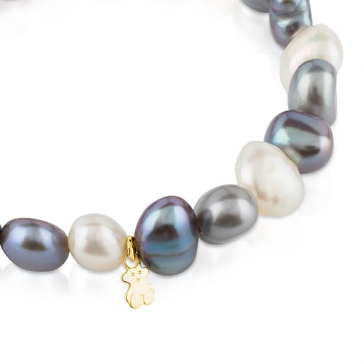Gold Sweet Dolls Bracelet with white, grey and blue baroque pearls and Bear motif