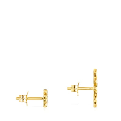 Gold TOUS Good Vibes clover – serpent Earrings with Diamonds