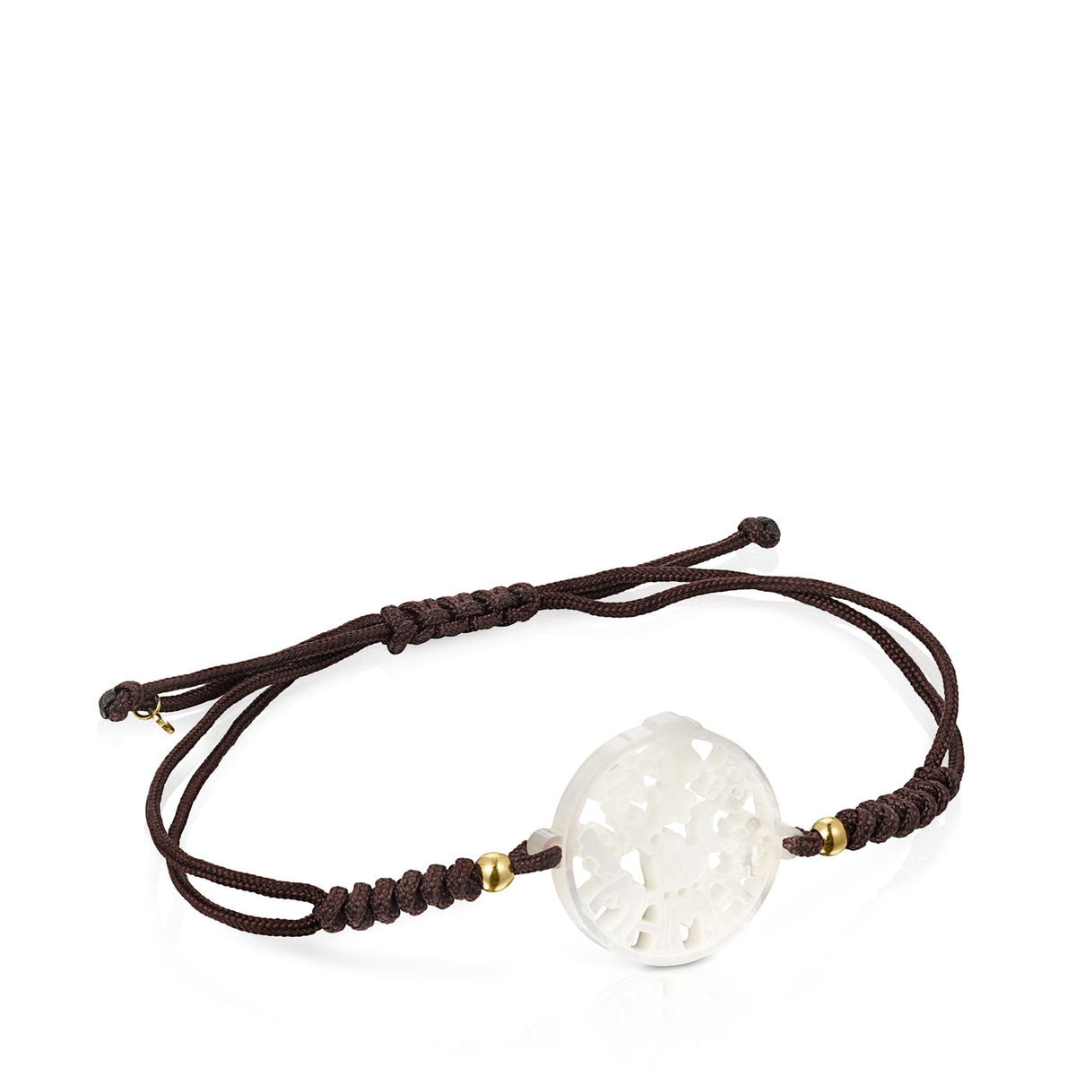 TOUS Mama Bracelet in Gold and Mother-of-pearl with brown cord