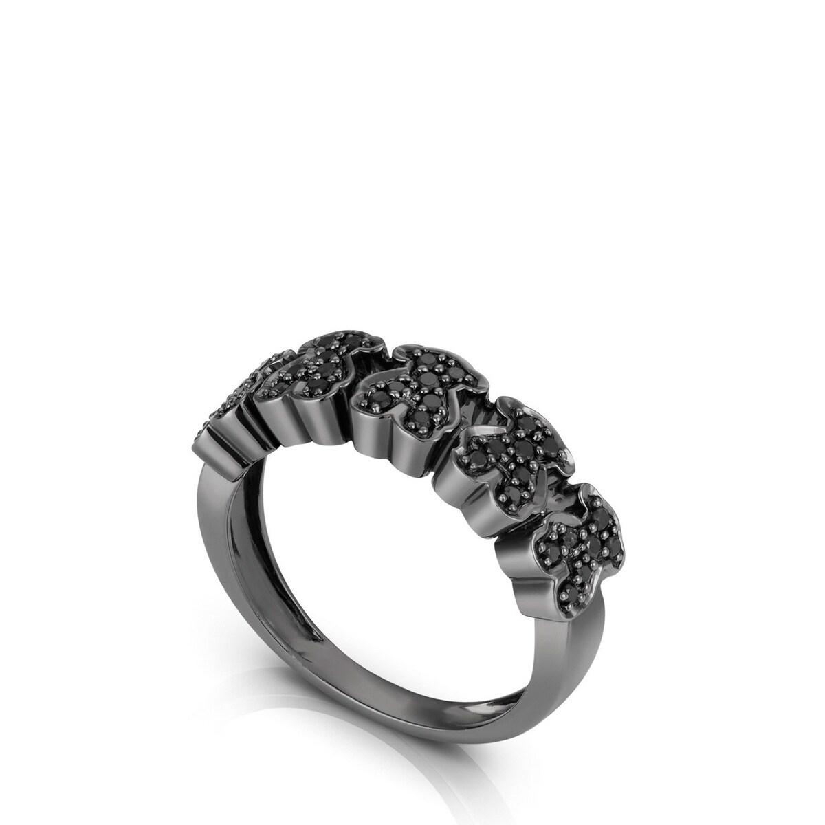 White Gold TOUS Bear Ring with Diamond