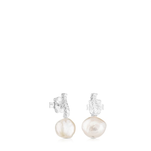 Silver Stick Earrings with Pearl