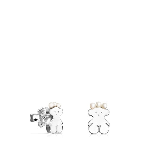 Silver Real Sisy bear Earrings with Pearls
