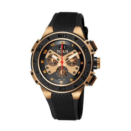 Zweifarbige Uhr Xtous aus IP Stahl in rosa/schwarz mit schwarzem Silikonarmband