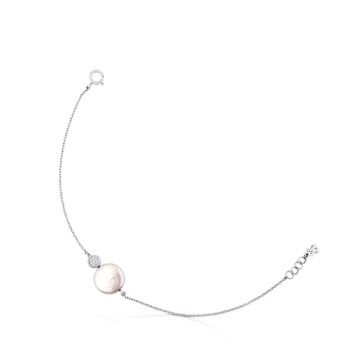 White Gold Alecia Bracelet with Diamond and Pearl