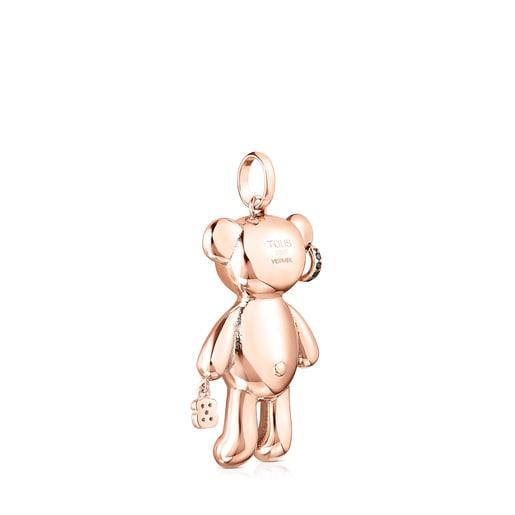Pingente Teddy Bear punk em Prata vermeil rosa e Espinélios