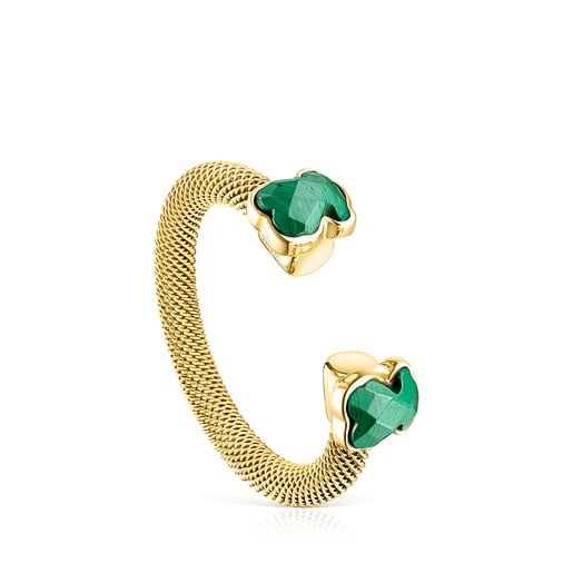 Offener Ring Mesh Color aus IP-Stahl in Gold mit Malachit