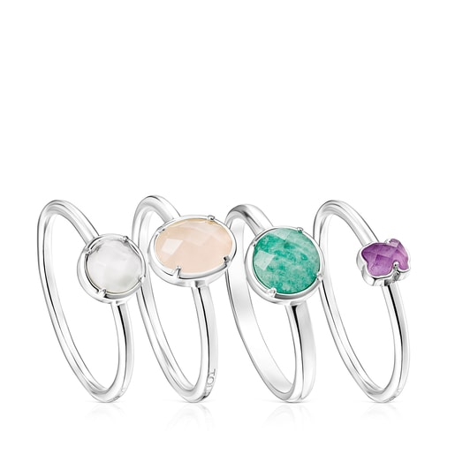 Pack of Silver and Gemstones Cool Color Rings