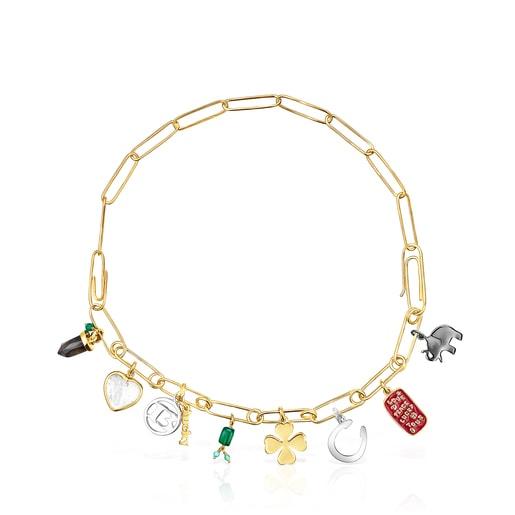 Collar TOUS Good Vibes clips - charms de plata vermeil, plata dark silver y gemas
