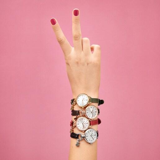 Reloj Hold de acero IP rosado con correa de piel roja