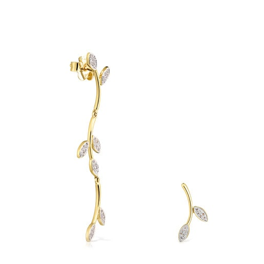 Gold Real Mix Leaf Earrings with Diamonds Leaf motifs