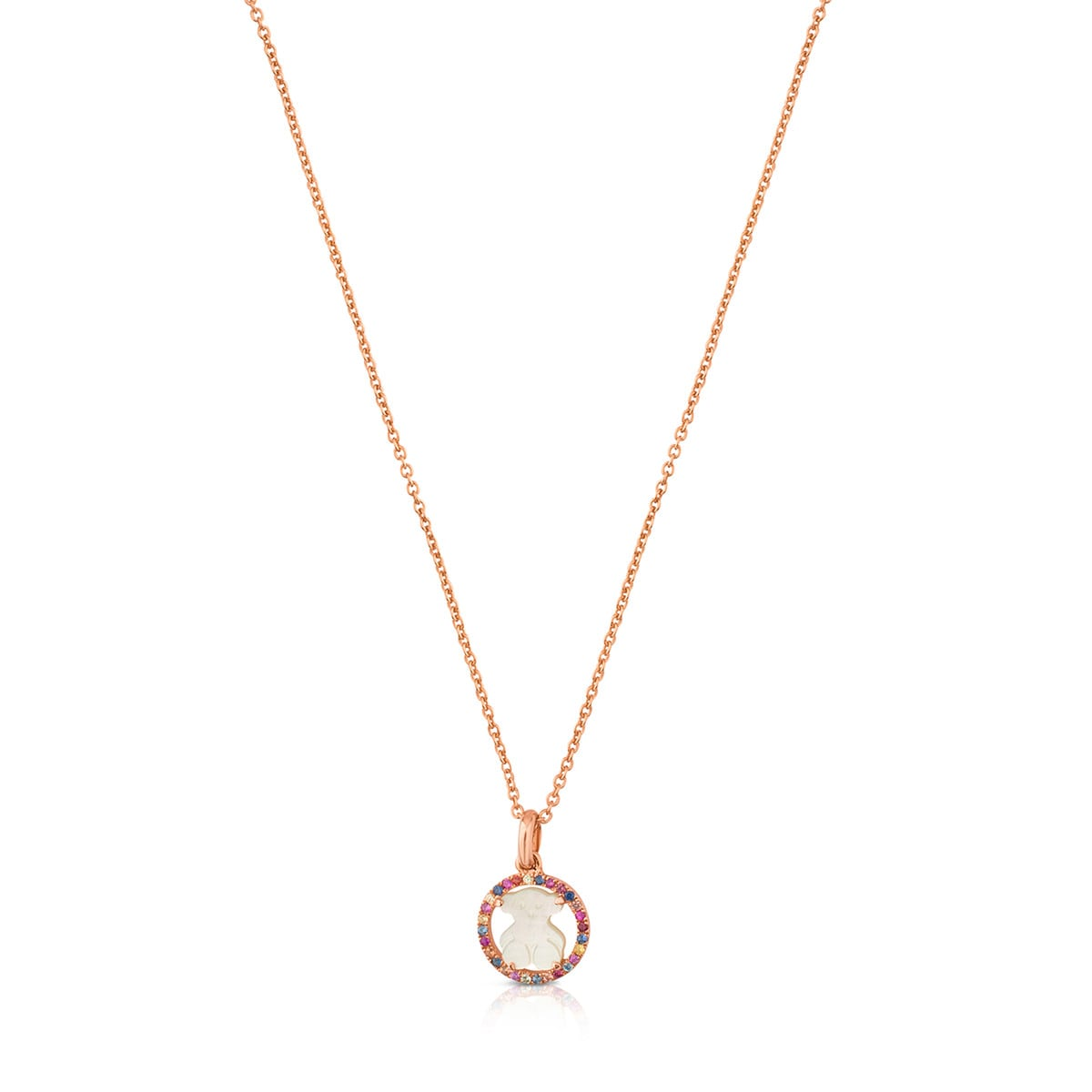 9741f3ec18e8 Collar Camille de Plata Vermeil rosa con Nácar y Zafiro multicolor ...