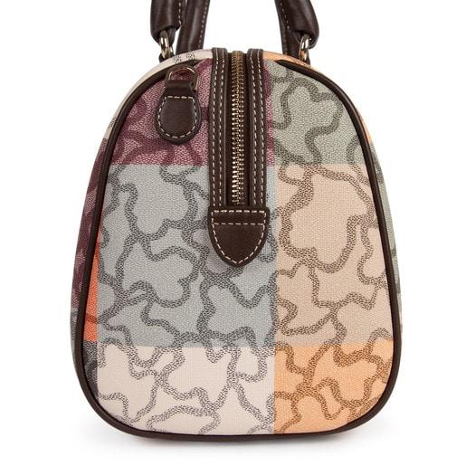 Τσάντα τύπου μπόουλινγκ Kaos Cuadrados από καραβόπανο σε πορτοκαλί - καφέ χρώμα
