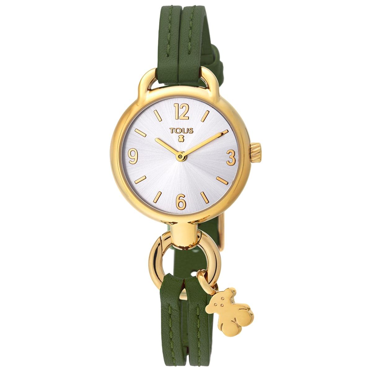 Ρολόι Hold από επιχρυσωμένο Ατσάλι με πράσινο Δερμάτινο λουράκι