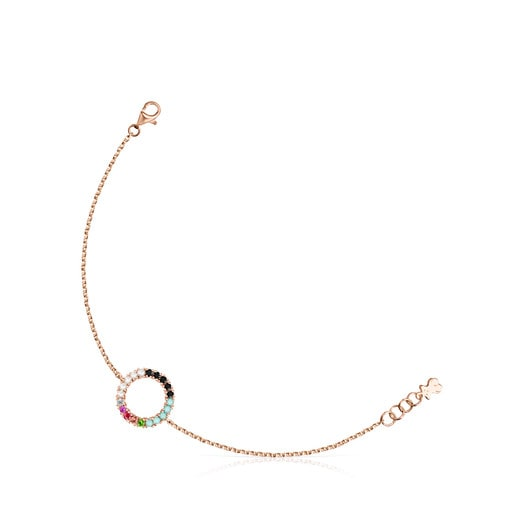 Straight disc Bracelet in Rose Silver Vermeil with Gemstones