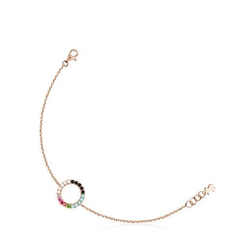 Bracelet Straight cercle en Or Vermeil rose avec Pierres précieuses