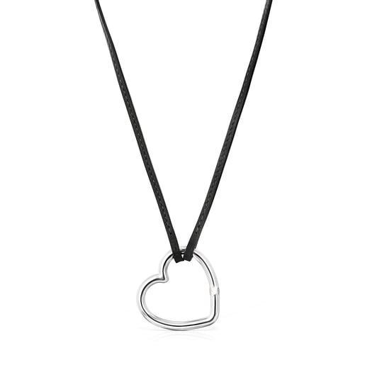Long Hold heart Necklace in Silver and black Leather
