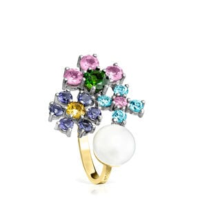 Titanium and Gold Real Sisy Ring with Gemstones and Pearl