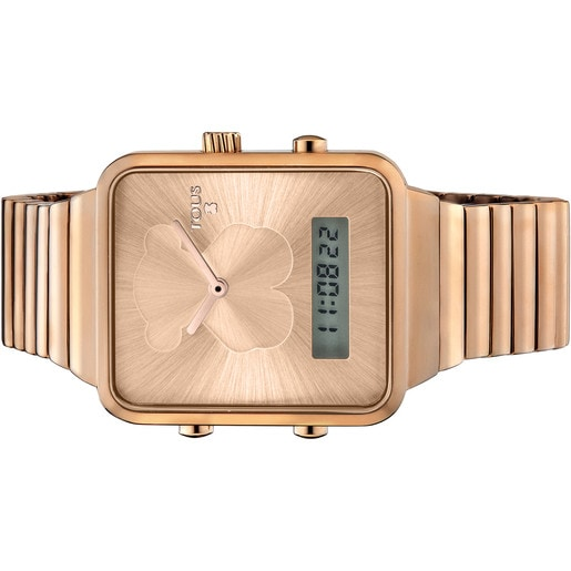 Reloj digital I-Bear de acero IP rosado
