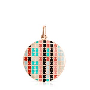Rose Gold Vermeil with Enamel Tartan Pendant