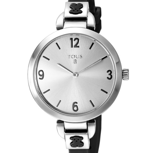 Steel Bohème Watch with black Silicone strap