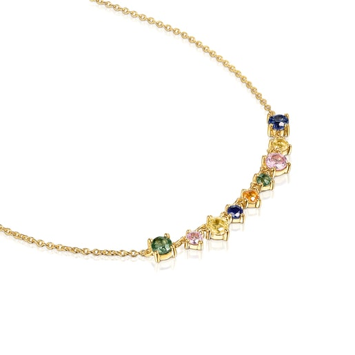 Silver Vermeil Glaring Necklace with multicolored Sapphires