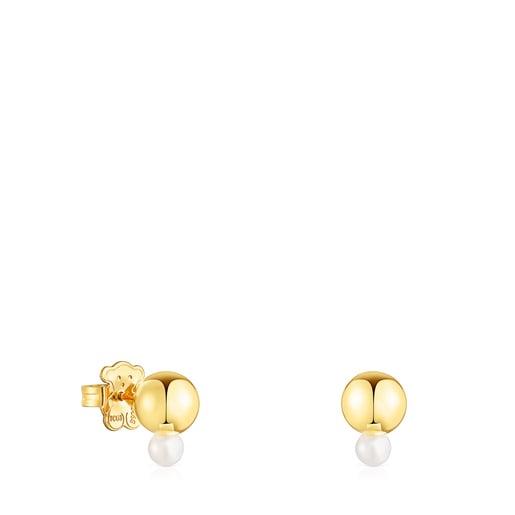 Σκουλαρίκια Gloss από Ασήμι Vermeil με μικρό Μαργαριτάρι