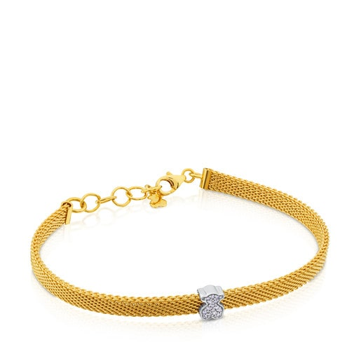 Pulsera TOUS Icon Mesh de Oro blanco con Diamantes motivo Oso 0,6cm.
