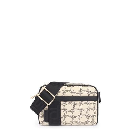 Μικρή μπεζ-μαύρη τσάντα Χιαστί TOUS Logogram