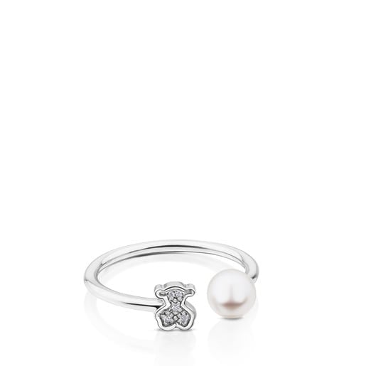 White Gold Puppies Ring with Diamond and Pearl