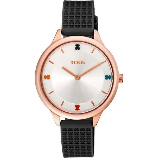 Uhr Tartan aus rosafarbenem IP-Stahl mit schwarzem Silikon-Armband
