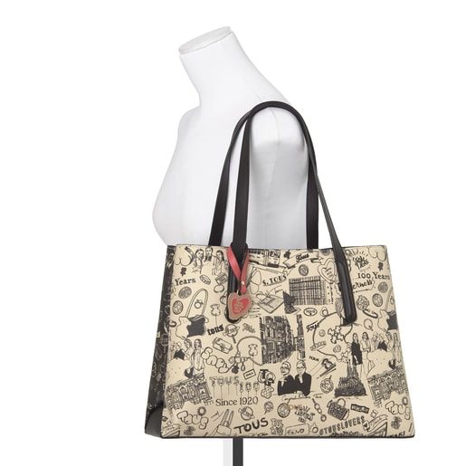 TOUS Centenary beige and black Shopping bag