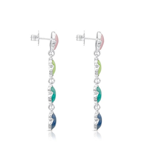 Silver New Color Earrings with Gemstones