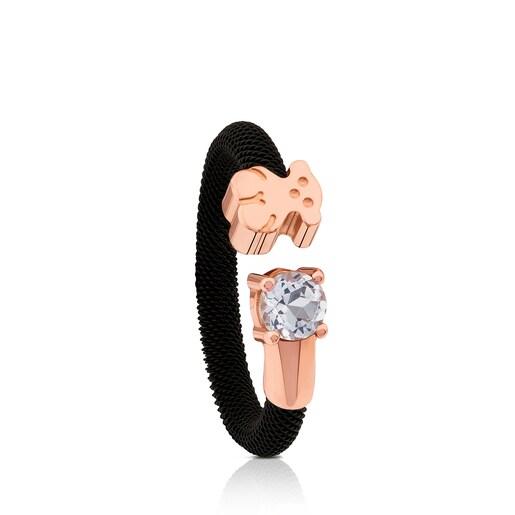 Δαχτυλίδι Eklat από Ατσάλι και ροζ Ασήμι Vermeil με Τοπάζι