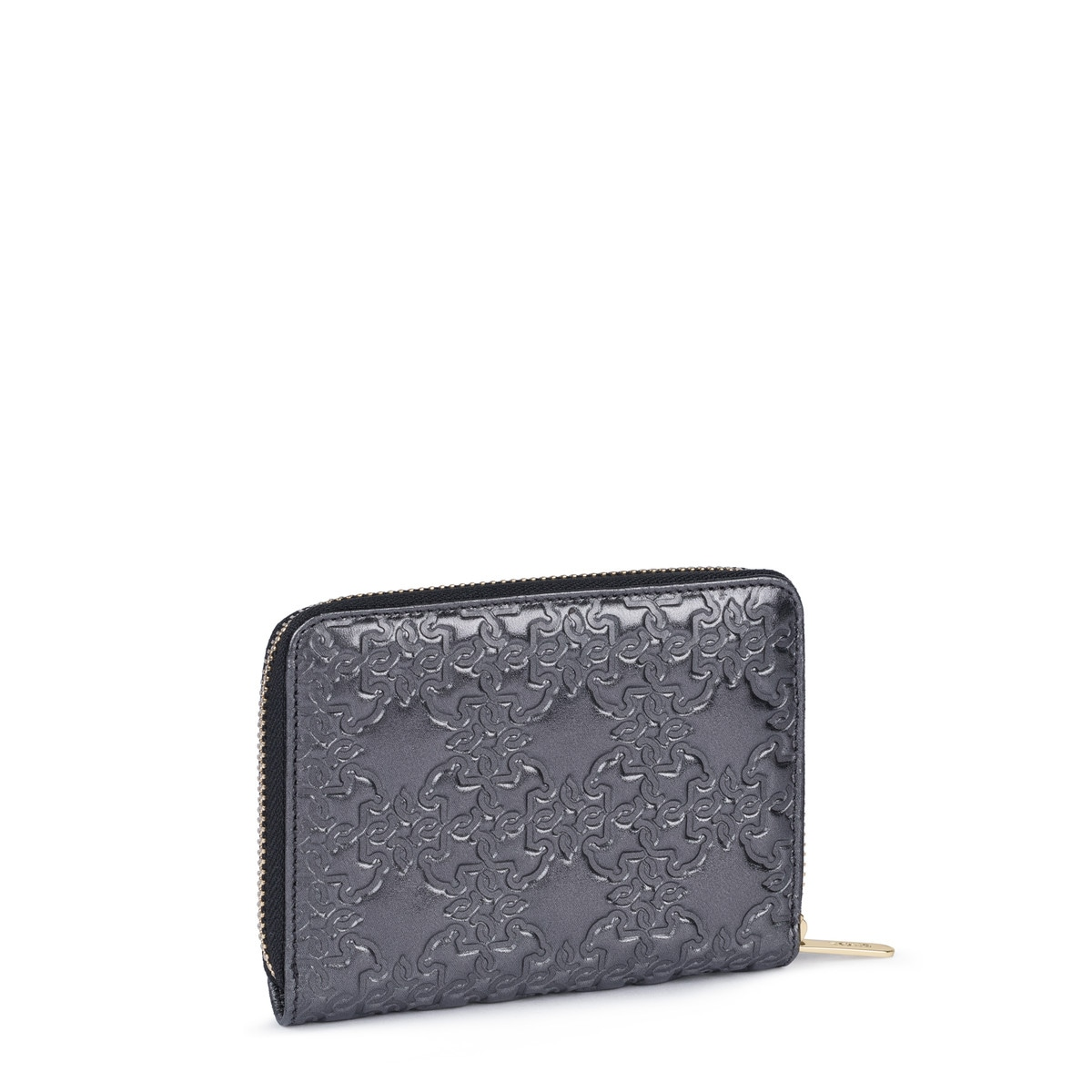 Small silver Mossaic Leather Wallet with zipper