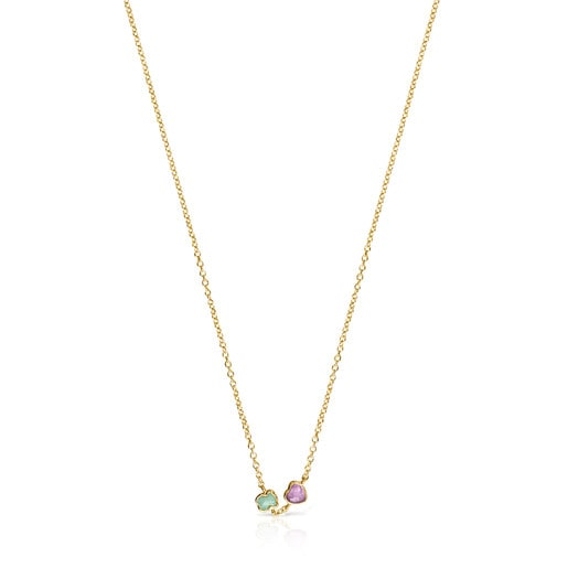 Glory Necklace in Silver Vermeil with Amazonite and Amethyst