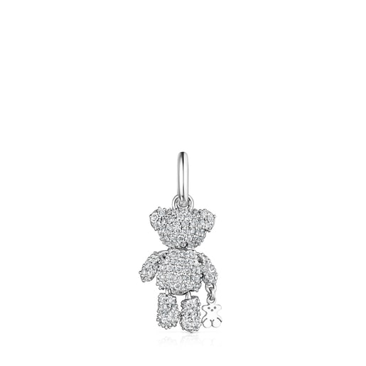 Penjoll Teddy Bear Gems d'or blanc amb diamants